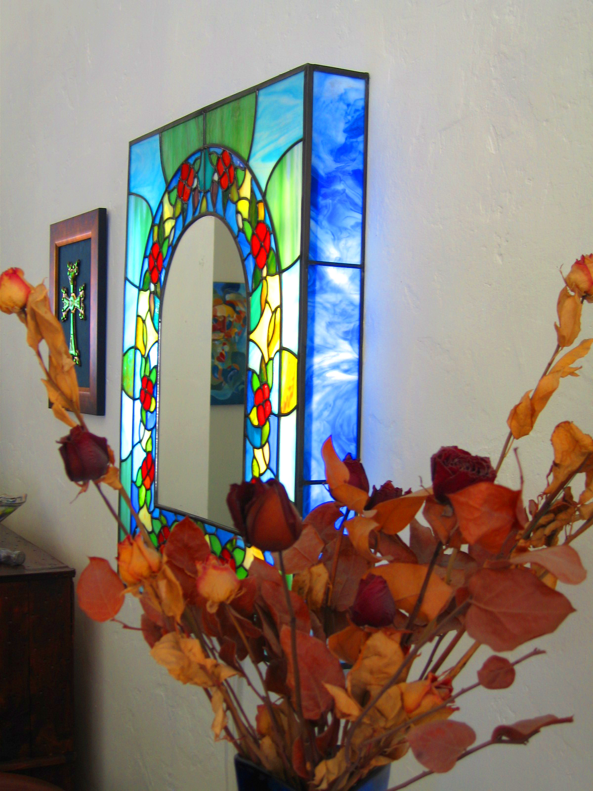 Leaded Glass Lightbox Mirror