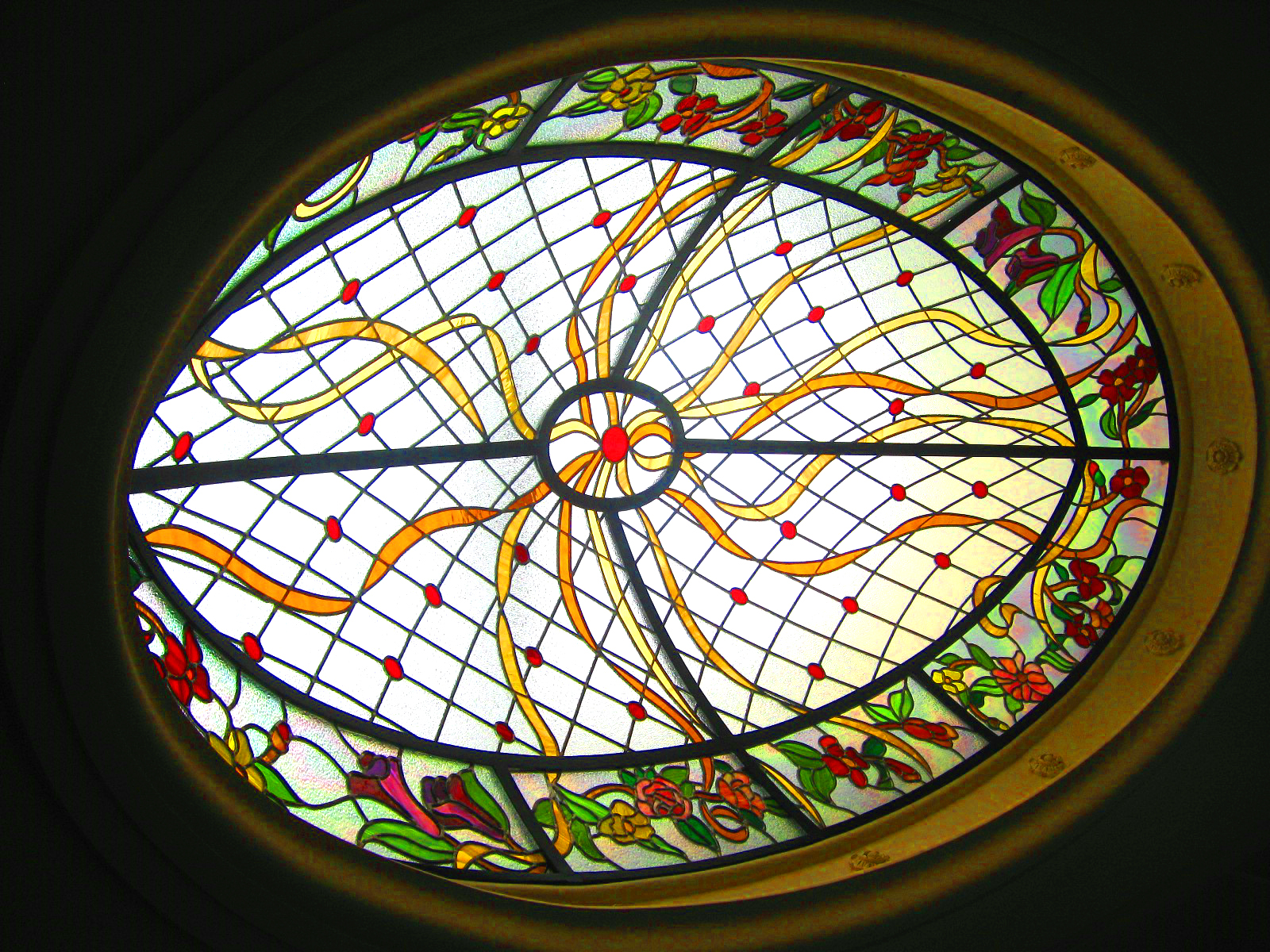 Leaded Glass Skylight Dome (Oval)